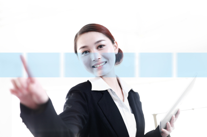 asian business woman touch screen